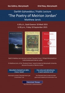 Poster for Meirion Jordan lecture