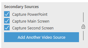 Screen grab from Panopto with the secondary sources selected for recording two screens. Includes: Capture PowerPoint Capture Main Screen Capture Second Screen All checked.