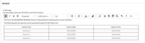 Table demonstrating which sessions can be accessed through the Teams link
