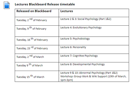 A table showing dates on each content being released on Blackboard