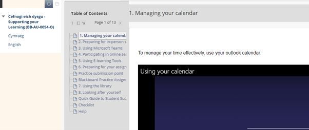 Supporting your Learning module has a menu on the left hand side that you can navigate the different pages from