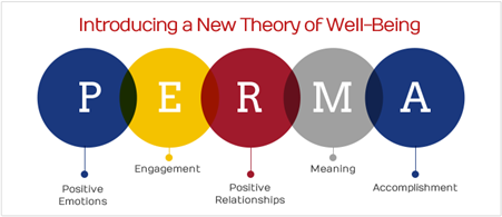 PERMA model: P - positive emotions, E- engagement, R - Relationships, M- meaning, A- accomplishment